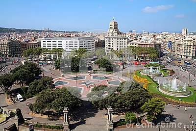 Aerial of Placa Catalunya, Barcelona, Spain Editorial Photography