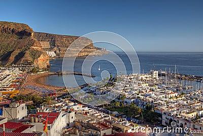 Aerial of Puerto de Mogan Gran Canaria Spain