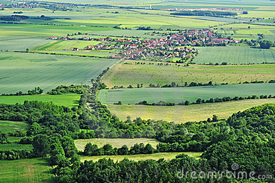 Aerial rural summer countryside