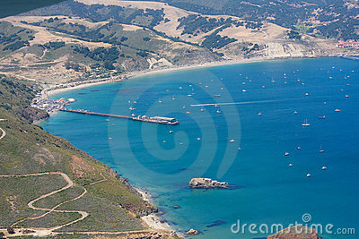 Aerial shot of Avila bay and the California coast