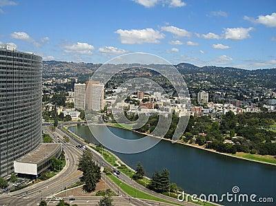 Aerial shot of Lake Merritt, Oakland