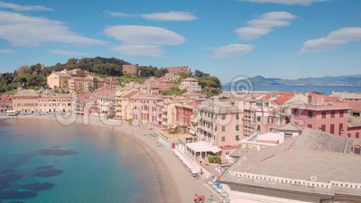 Aerial shot. Town in Italian Liguria. Sestri Levante, resort town with a beautiful bay, and cozy houses. Summer time stock footage