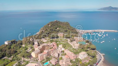 Aerial shot. Town in Italian Liguria. Sestri Levante, resort town with a beautiful bay, and cozy houses. Summer time stock video footage