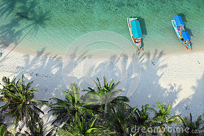 Aerial shot of tropical beach