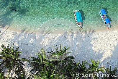 Aerial shot of tropical beach