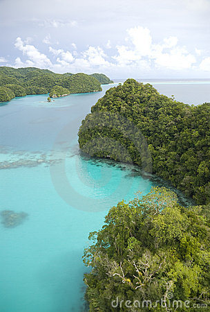 Aerial shot of tropical rock islands and lagoon