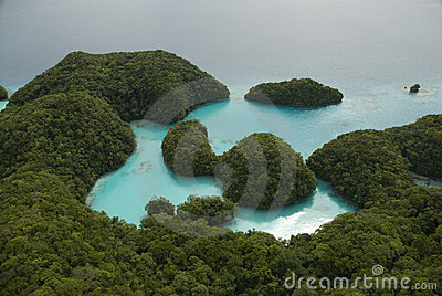 Aerial shot of tropical islands and lagoon
