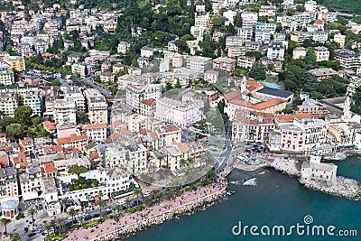 Aerial sightseen of Rapallo, Italian sea town
