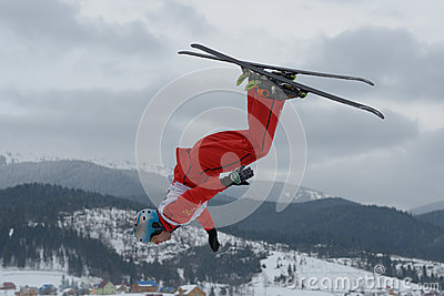 Aerial skiing Editorial Photo