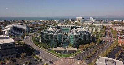 Aerial of sony play station headquarters in san mateo california united states of america. Camera flying up stock video footage