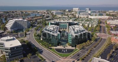 Aerial of sony play station headquarters in san mateo. California united states of america camera moving forward stock video footage