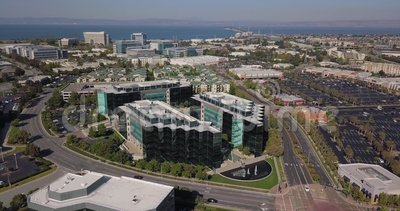 Aerial of sony play station headquarters in san mateo california united states of america. Camera rotate pivot right stock video