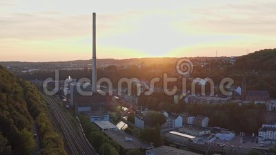 Aerial tilt view of industry of a city in duitsland - wuppertal in nordrhein-westfalen stock video