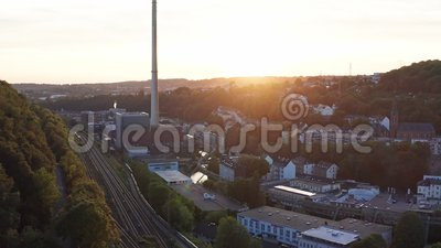 Aerial tilt view of industry of a city in duitsland - wuppertal in nordrhein-westfalen stock footage