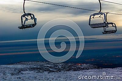 Aerial tramway in Mountain range Serra da Estrela