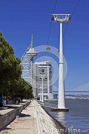 Aerial Tramway / Vasco da Gama Tower - Lisbon Editorial Image