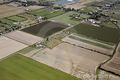 Aerial Vancouver - Richmond fields and farms