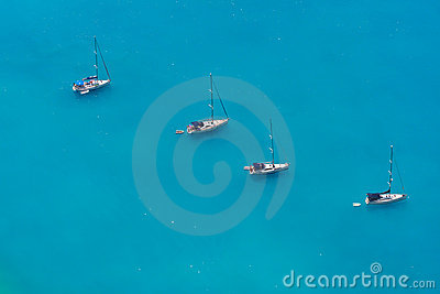 Aerial view of 4 sailing boats