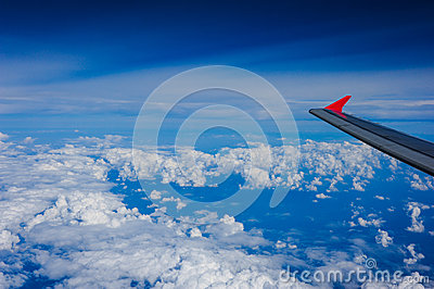 An aerial view from an airplane
