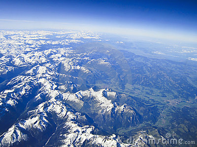 Aerial view on the  alps