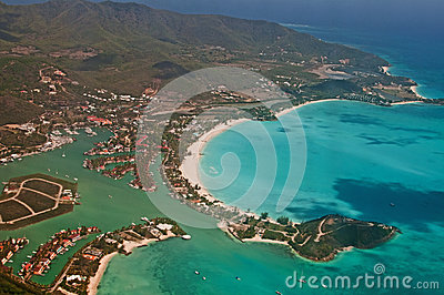 Aerial view of antigua tropical island