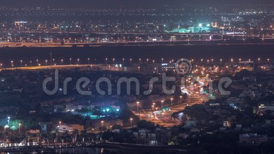 Aerial view of apartment houses and villas in Dubai city night timelapse, United Arab Emirates. Aerial view of apartment houses and villas in Dubai city night stock footage