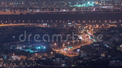 Aerial view of apartment houses and villas in Dubai city night timelapse, United Arab Emirates. Aerial view of apartment houses and villas in Dubai city night stock video