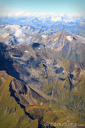 Aerial view of Austrian Alps in Summer