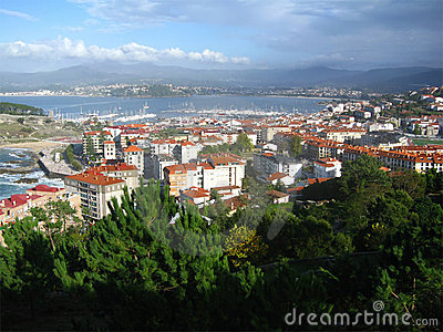 Aerial view of Baiona, Spain