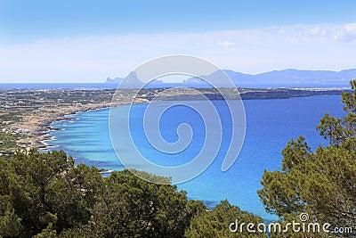 Aerial view balearic island Ibiza horizon