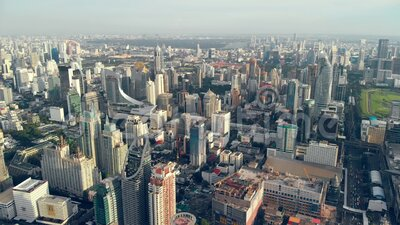 Aerial view of Bangkok streets in a daytime. stock video footage