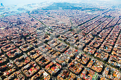 Aerial view of Barcelona cityscape from helicopter