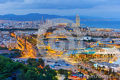 Aerial view Barcelona at night, Catalonia, Spain Stock Photo