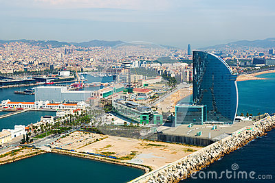 Aerial view of Barcelona  from sea