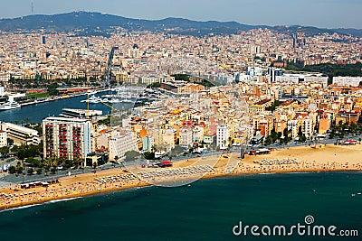 Aerial view of Barceloneta  from Mediterranean.  Barcelona