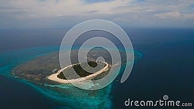 Aerial View Beautiful Beach On Tropical Island. Mantigue ...