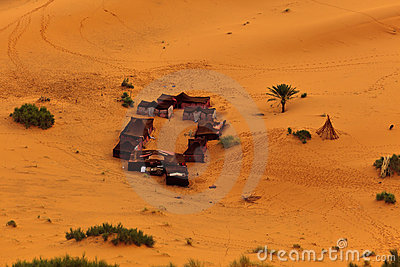 Aerial view of Bedouin tents in Sahara Desert