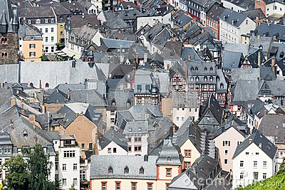 Aerial view of BernKastel-Kues in Germany