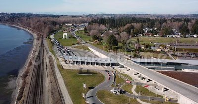 Aerial view Blaine border crossing Canadian American. Coastal area near the boundary between the United States and Canada stock video footage