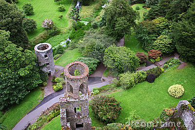 Aerial view of Blarney castle s towers and park
