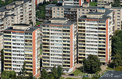 Aerial view blocks of flats