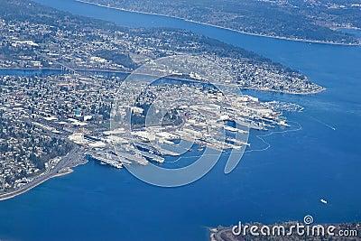 Aerial view of Bremerton City Washington