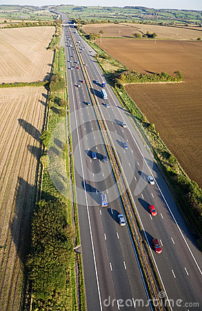 Aerial View of a British Motorway