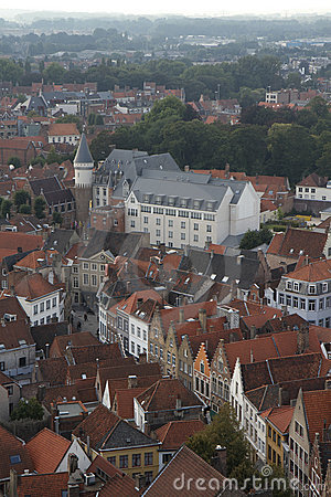 Aerial view of Bruges rooftops and buildings