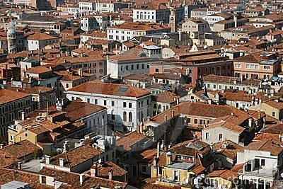 Aerial view of buildings in Venice, Italy