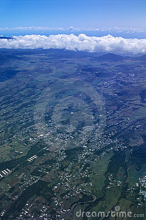 Aerial view of Cafres plain Reunion island