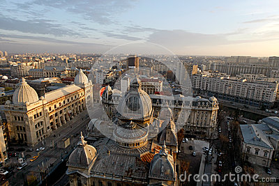 Aerial view of Calea Victoriei and CEC Palace in Bucharest Stock Photo