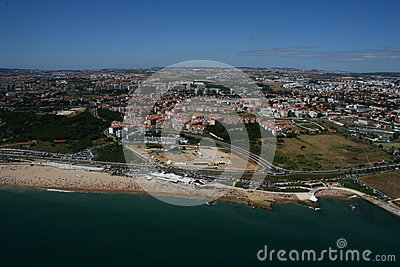 Aerial view of Carcavelos Beach