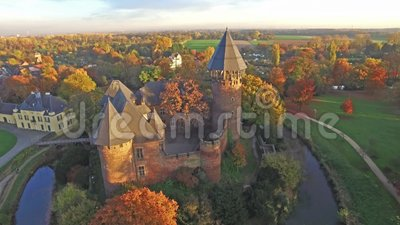 Aerial view of Castle Linn in autumn - Krefeld - Germany. Europe stock footage