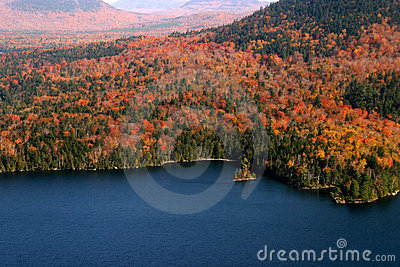 Aerial View of the changing fall colors of New England